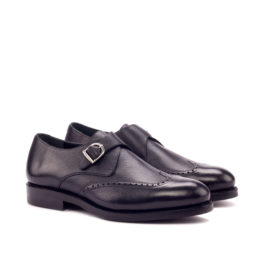 Black Brogue Style Monk Shoes