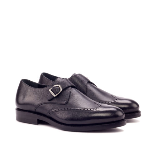 Black Painted Full Grain Single Monk Leather Shoes