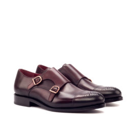 Double Monk Strap Burgundy Leather Shoes