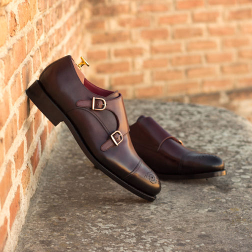 Double Monk Strap Burgundy Painted Calf Leather Men shoes