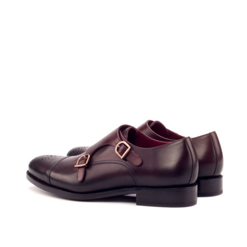 Double Monk Strap Burgundy Painted Calf Leather shoes