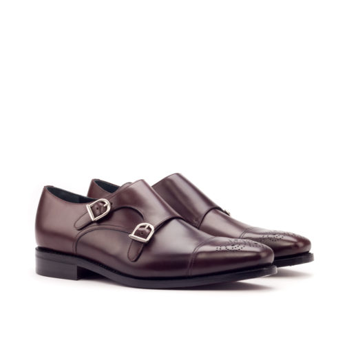 Double Monk Strap Burgundy Polished Calf Leather men shoes