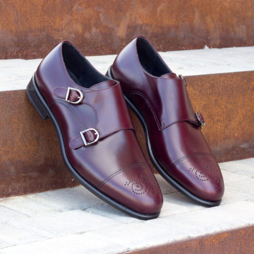 Double Monk Strap Burgundy Polished Calf Leather shoes
