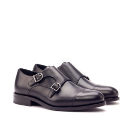 Black Double Monk Leather Shoes