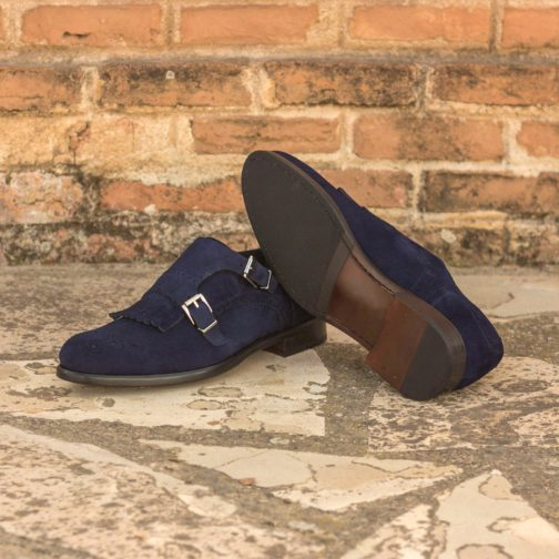 Double Monk Strap Navy Kid Suede leather shoes