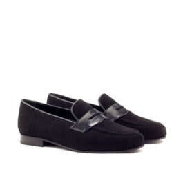 Brownmanshoes Black Suede Leather Loafer Shoes