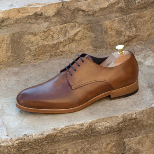 med brown painted calf derby leather shoes