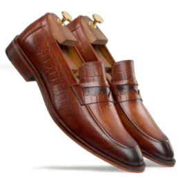 Brown Croco Penny Leather Loafer | Handmade Leather Slip-on