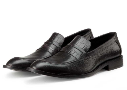 black croc leather shoes