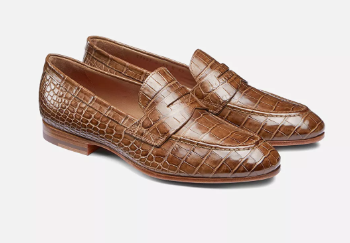 croco penny leather loafer shoe