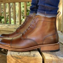 Leather Long Boot | Two Tone Leather shoe