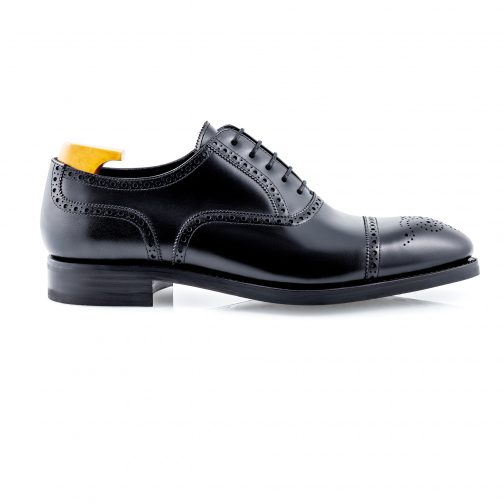Black Semi Brogue Shoe