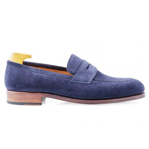 Blue Suede Penny Loafer